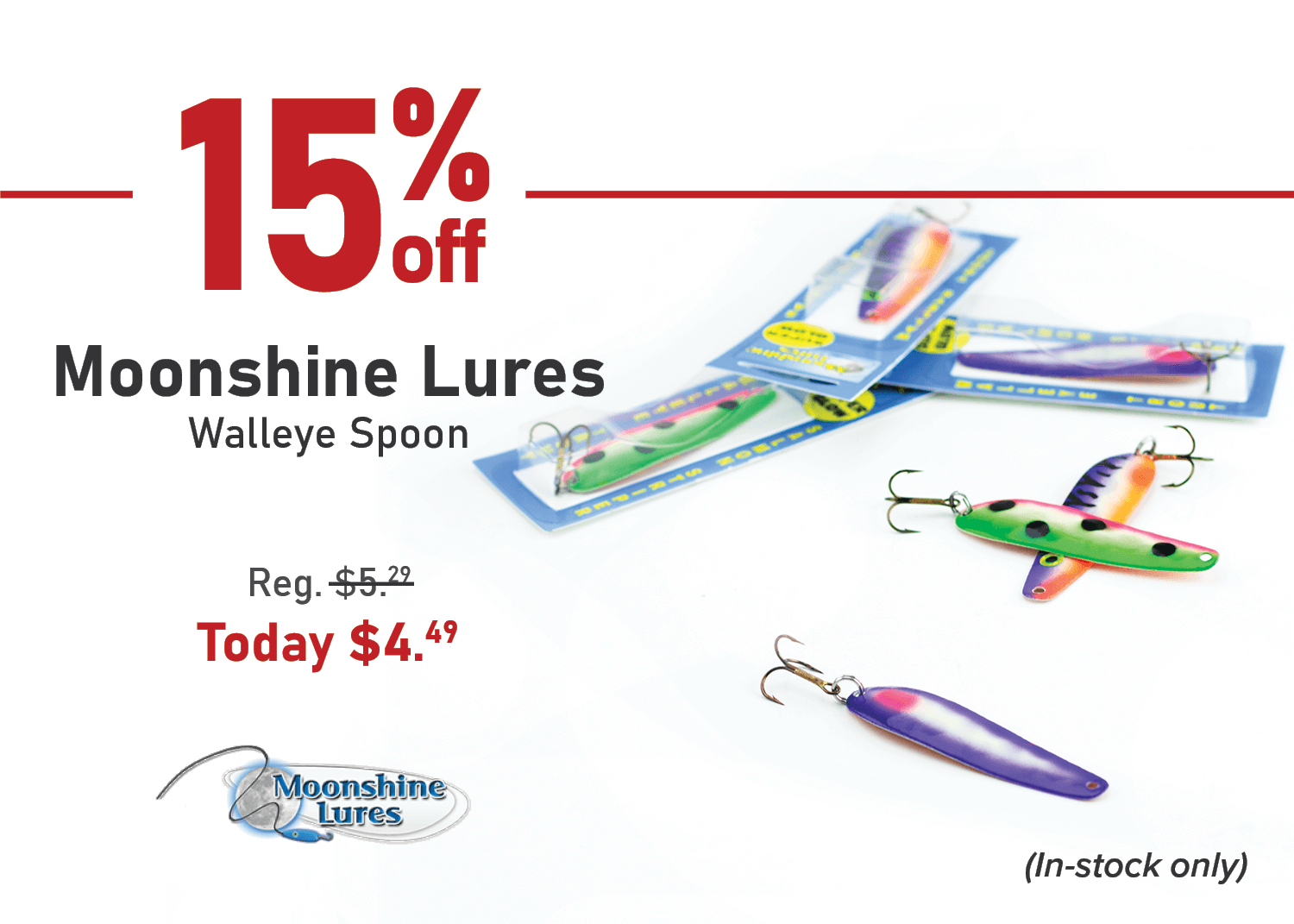 Take 15% off the Moonshine Lures Walleye Spoon