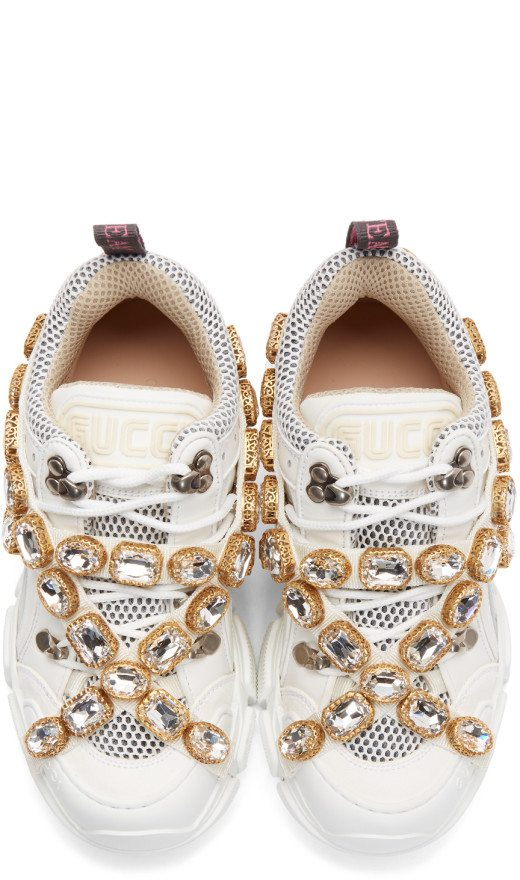 Gucci - White Crystal Flashtrek Sneakers