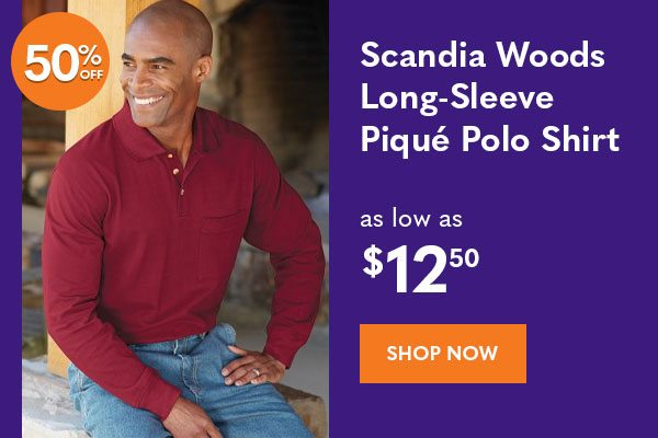 Men's Scandia Woods Long-Sleeve Pique Polo Shirt as low as $12.50
