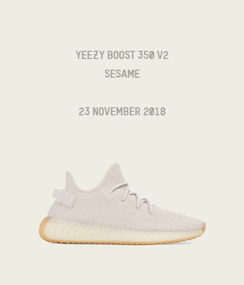 "5ea747d2ac4 The Yeezy Boost 350 V2 ""Sesame"" drops tomorrow! - Champs Sports ..."