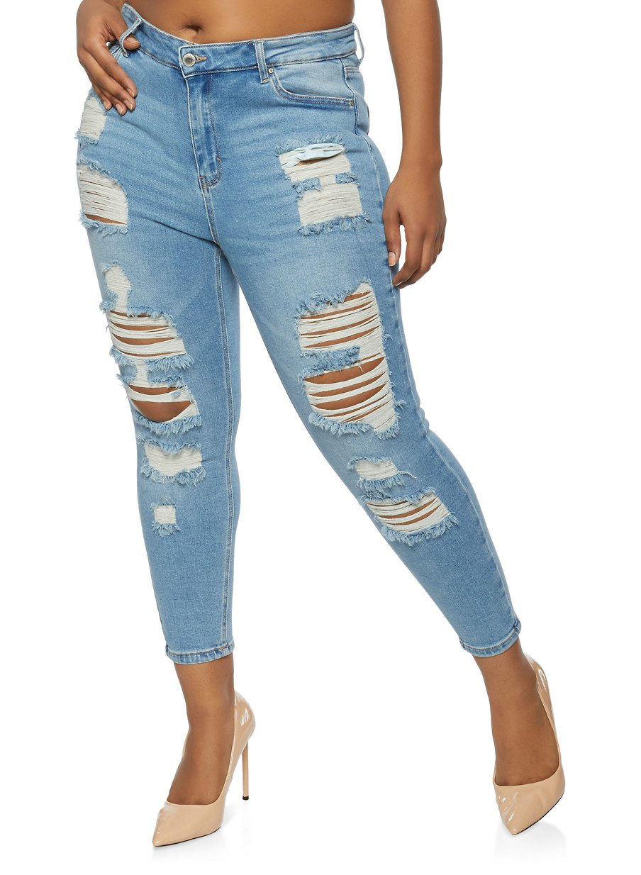 WAX Plus Size Distressed Whiskered Jeans
