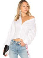 Women White Blouses Long Sleeve V Neck Buttons Convertible Cotton Casual Top