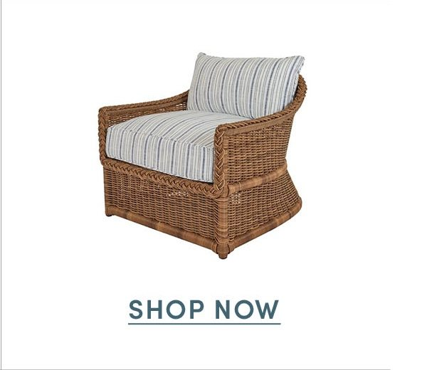 Emilia Braided Lounge Chair, Indigo Stripe