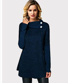 Ribbed Button Detail Royal Blue Tunic T Shirt