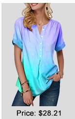 Button Front Curved Hem Short Sleeve Blouse