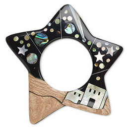 Focal, wood / mother-of-pearl shell / paua shell / resin (natural / assembled), black, 55x54mm single-sided star go-go with buildings / stars / planets. Sold individually.