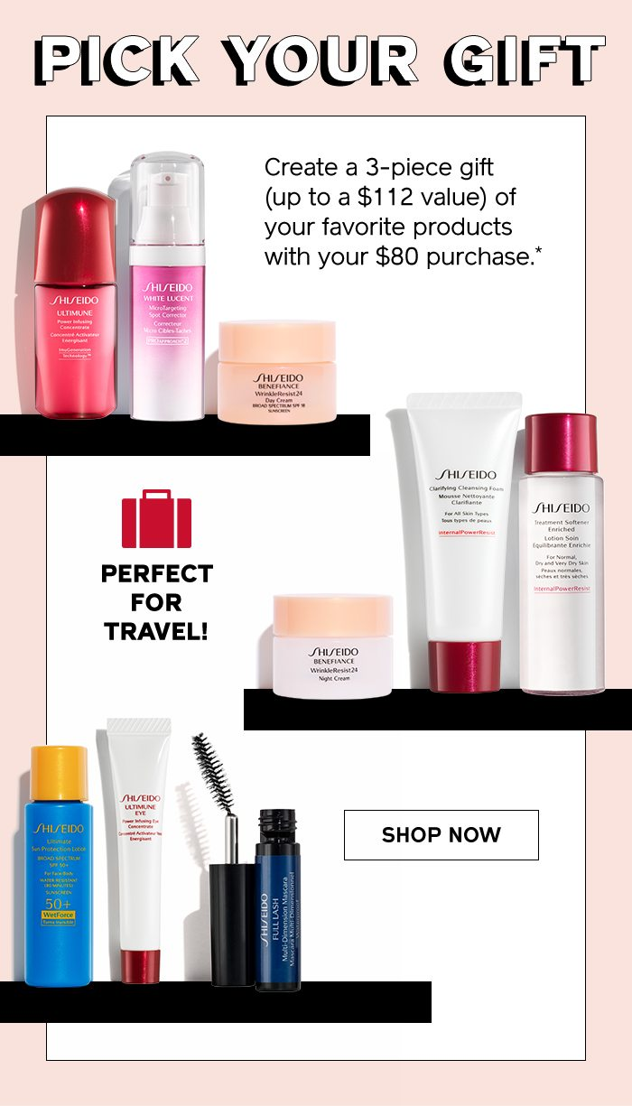 *Valid on your $80 purchase on Shiseido.com. Offer ends 3/2/2019 at 11:59pm PST or while supplies last. Not valid on gift sets or gift cards.