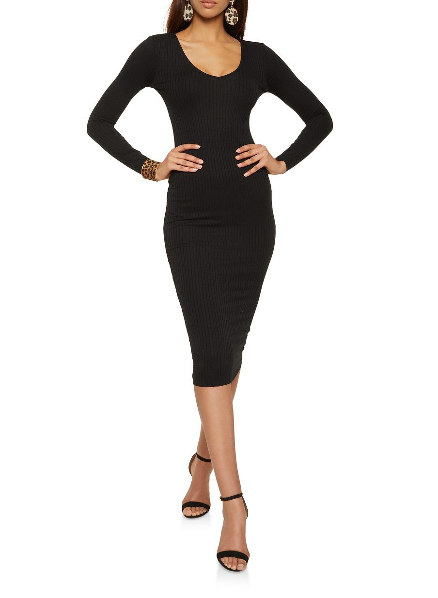 V Neck Ribbed Knit Bodycon Dress