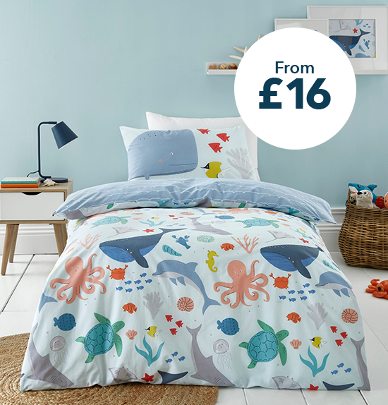 Protect our Seas Blue 100% Organic Cotton Duvet Cover and Pillowcase Set