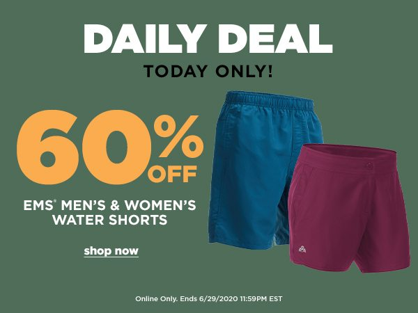 Daily Deal: 60% OFF Water Shorts - Online Only - Click to Shop