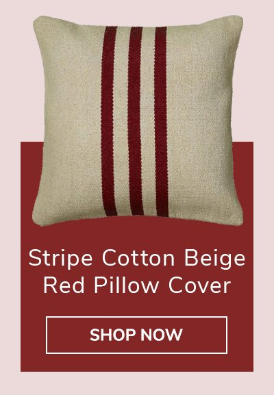 Stripe Cotton Beige Red Pillow Cover | SHOP NOW