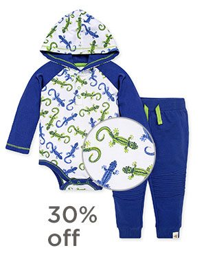 Leaping Lizards Organic Baby Hooded Bodysuit & French Terry Pant Set
