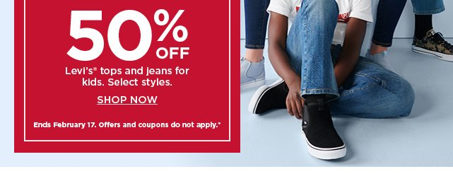 50% off levi's tops and jeans for kids. shop now.