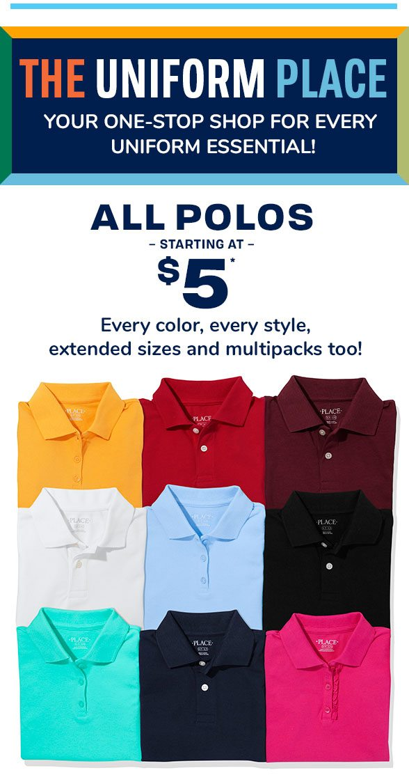 $5 & Up All Uniform Polos