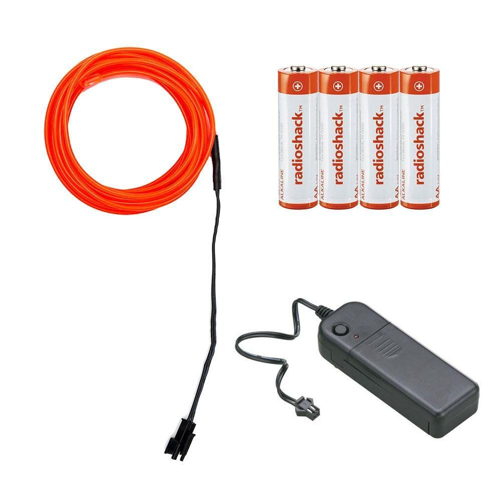 EL Wire Kit with Inverter and Batteries - 10 feet (Red)