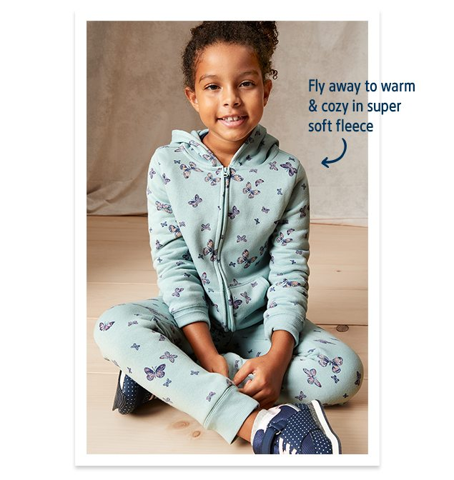 Fly away to warm & cozy in super soft fleece