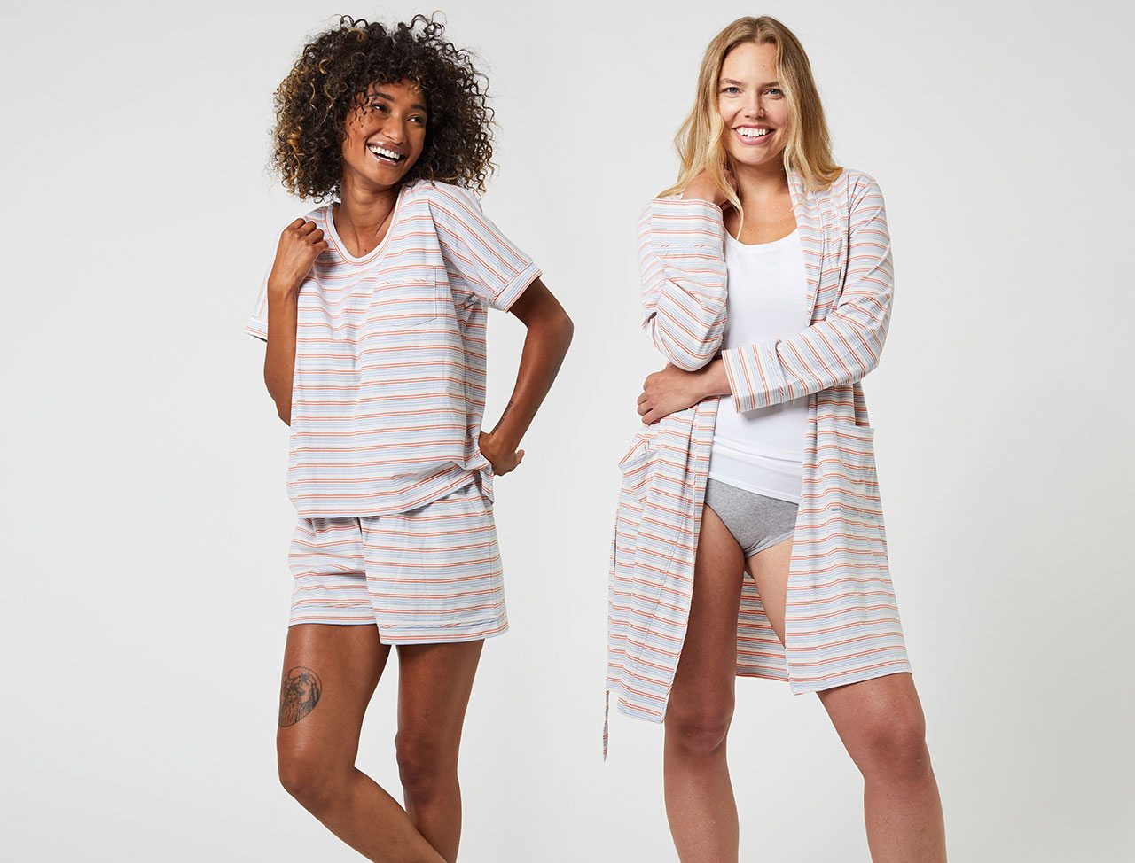 Sleep Set and Pocket Robe in our new print, Arctic Stripe!