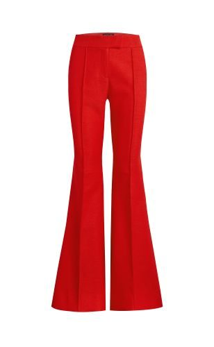Sofia Hopsack Suiting Flare Pants - Red