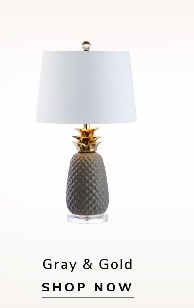 Pineapple Lamp Gray & Gold | SHOP NOW