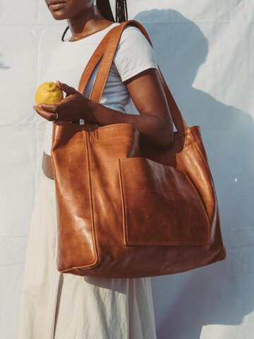 Soft Leather Oversized Tote