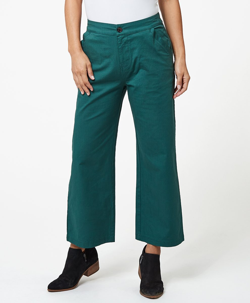 Wide Leg Cropped Pant in Mallard