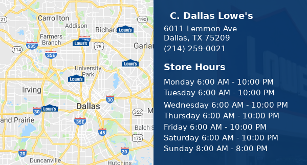 Find your closest Lowe's store.