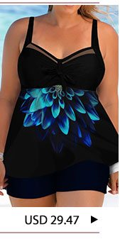 Printed Bowknot Detail Plus Size Swimdress and Shorts