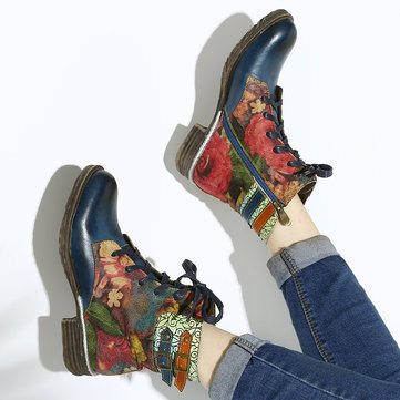 SOCOFY Watercolor Rose Leather Boots