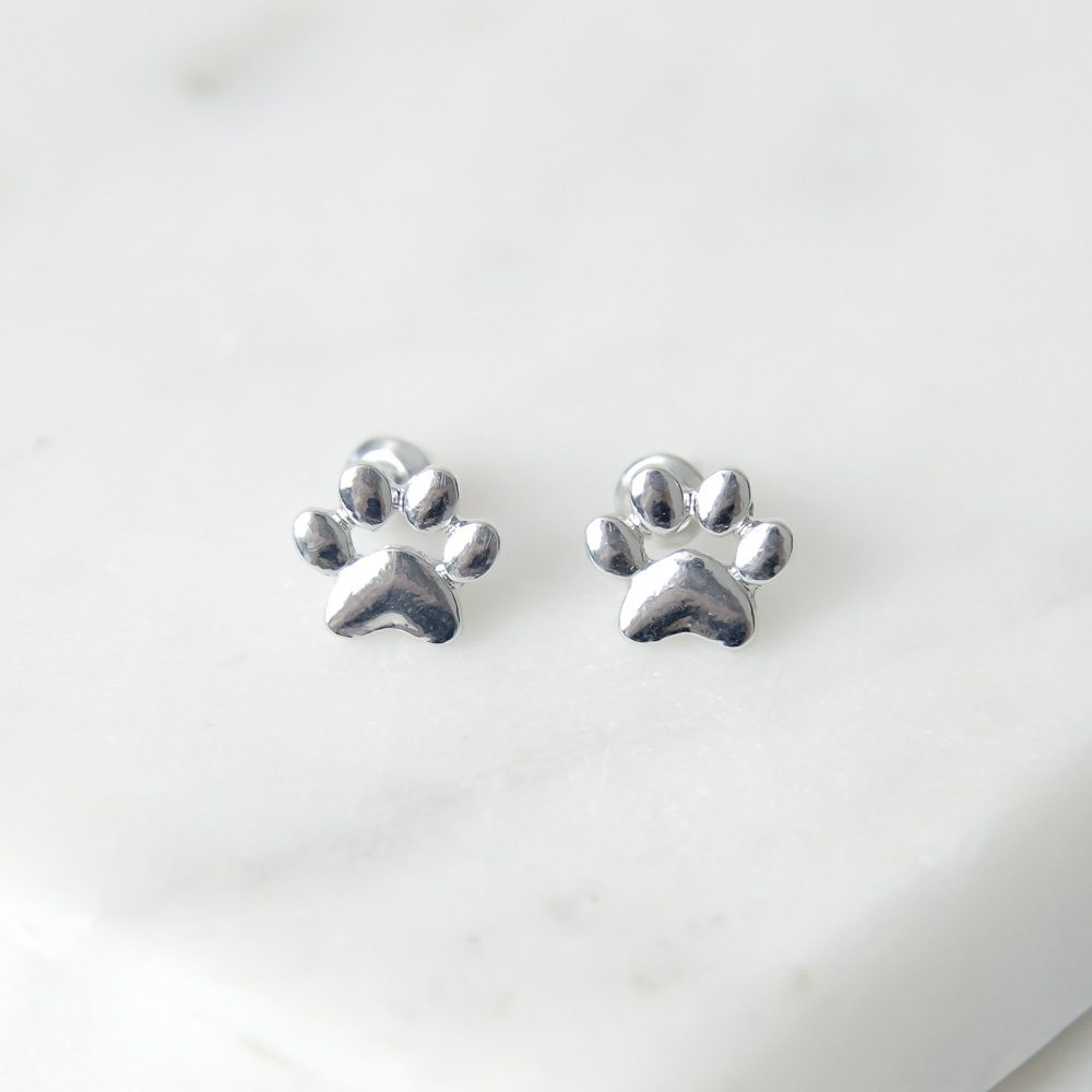 Image of Little Paw Prints Silver Stud Earrings