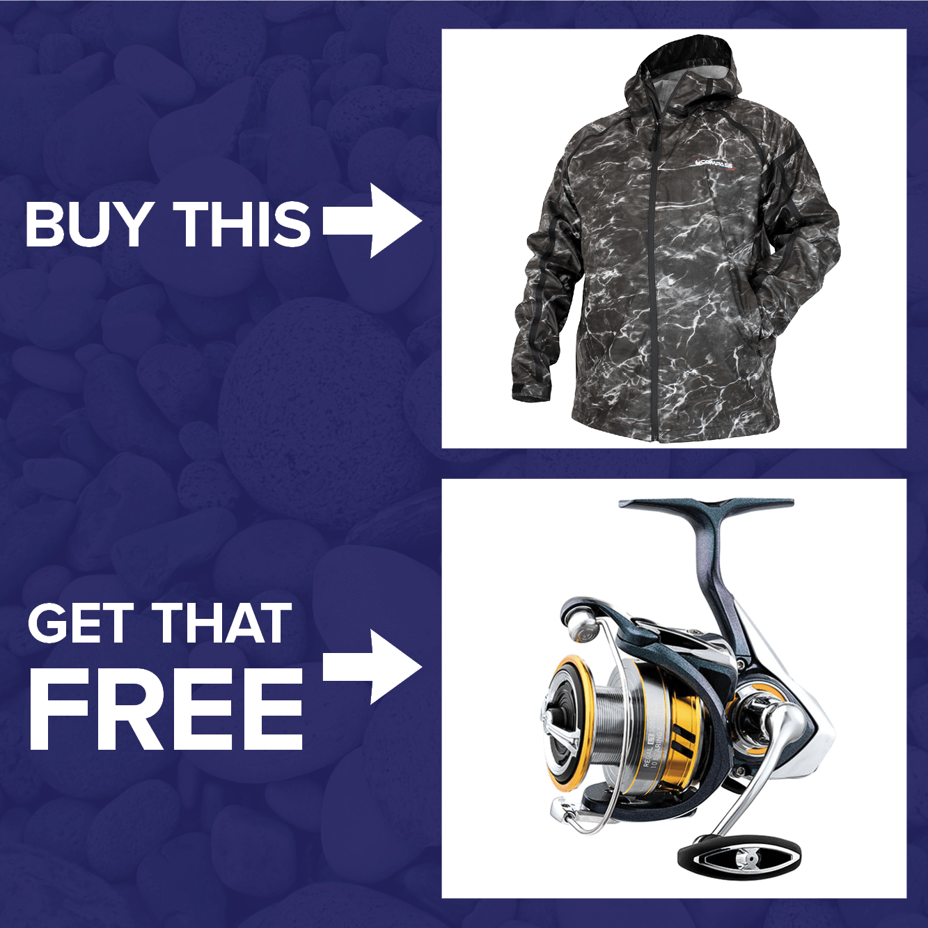 Buy a Compass 360 Pilot Point Ultra Dry Elements Agua Jacket & get a FREE Free Daiwa Regal LT Spinning Reel