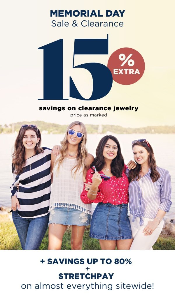 15% extra savings on clearance items | price as marked.