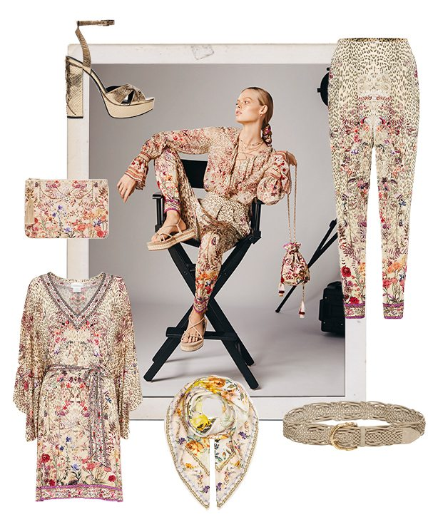 Cream, pink leopard and floral CAMILLA styles, laid over an image of a model in blouse and harem pants