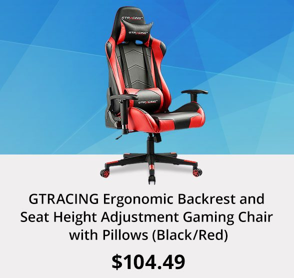 GTRACING Ergonomic Backrest and Seat Height Adjustment Gaming Chair with Pillows (Black/Red)