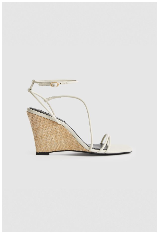 Kali Off-White Leather Wedged Sandals