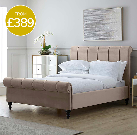 Classic Taupe Pleated Bed