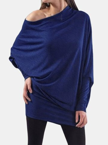 Slash Neck Loose Knit T-Shirt