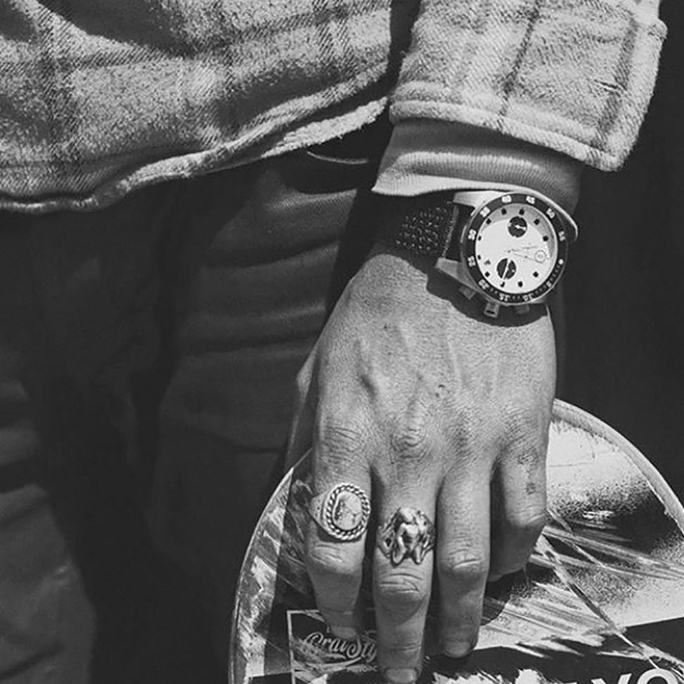 Electric men's watch analog black and white photo