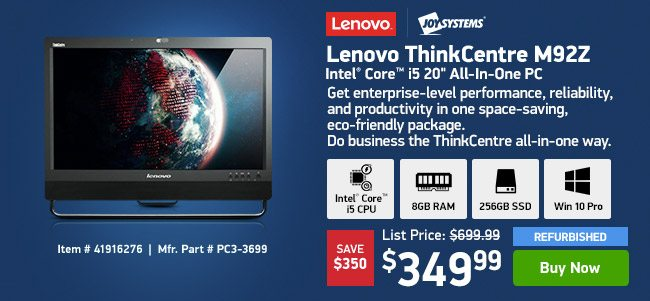 "Lenovo ThinkCentre M92Z i5 8GB 256GB 20"" REF AIO 