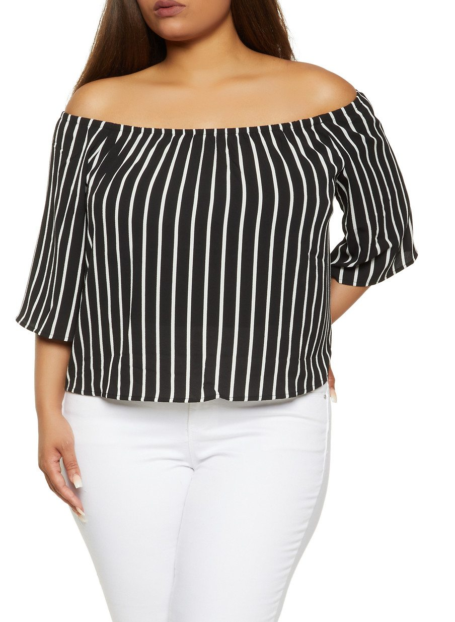 Plus Size Striped Off the Shoulder Top