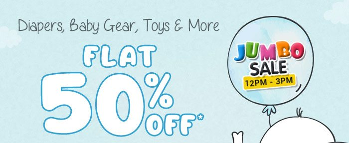 Diapers, Baby Gear, Toys & More Flat 50% OFF*