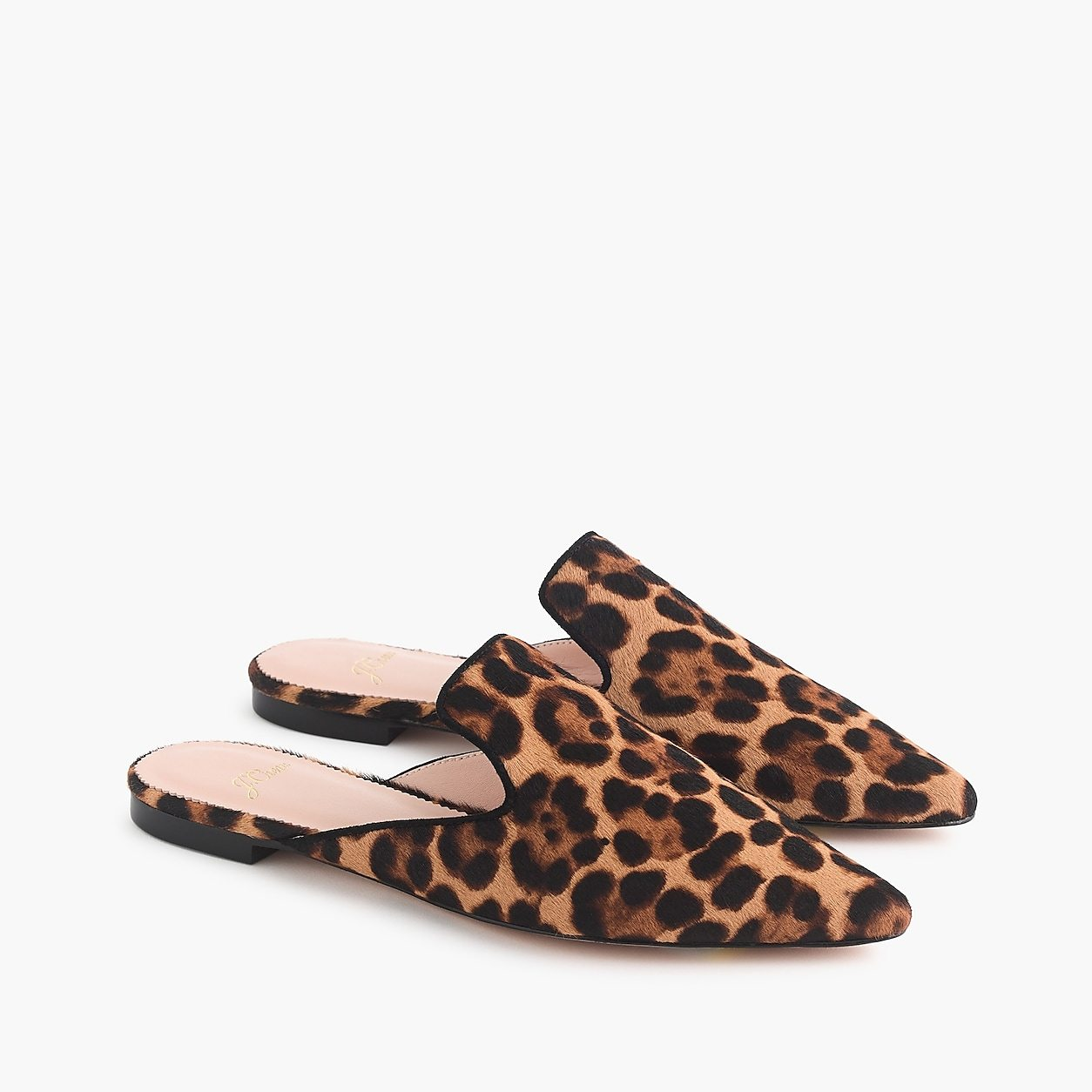 Pointed-toe slide in leopard calf hair