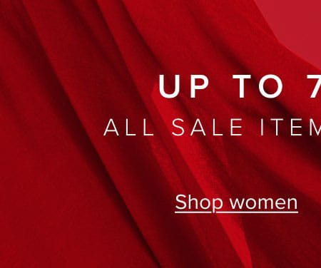 Up to 70% off all sale items continues. Shop women