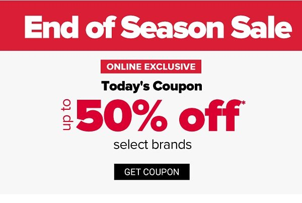 End of Season Sale - up to 50% off select brands. Get Coupon.