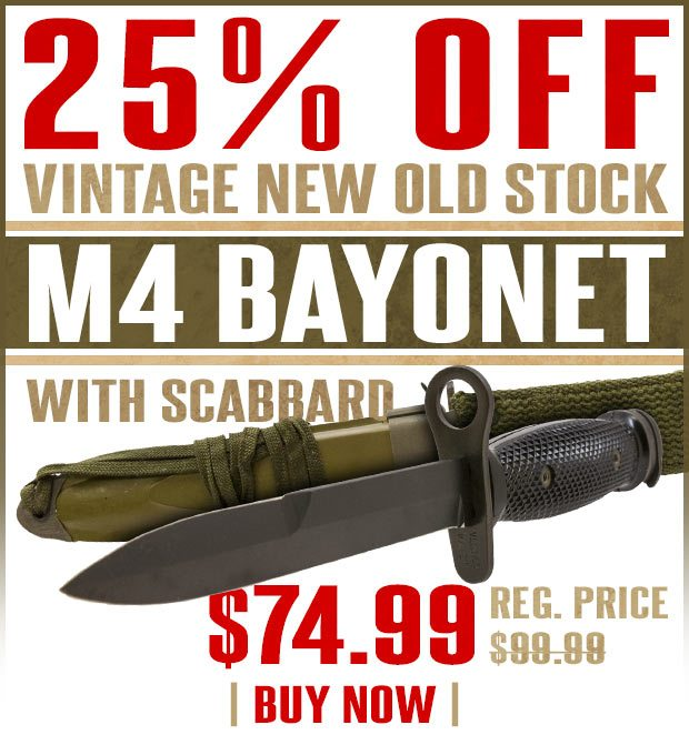 25% Off Vintage Military Surplus M4 Bayonet with Scabbard