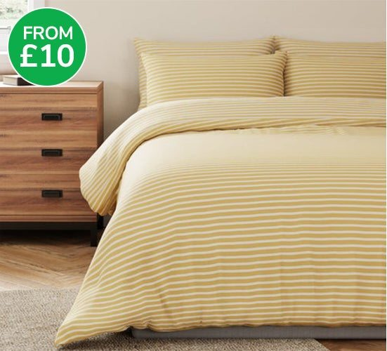 Bellamy Yellow Striped Anti Bacterial Duvet Cover and Pillowcase Set