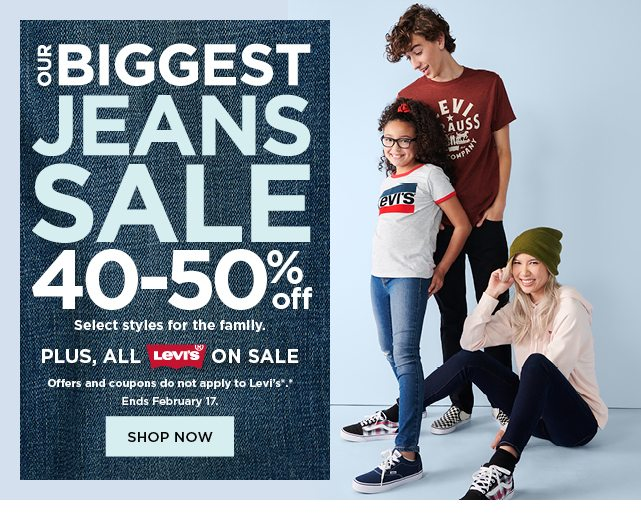 our biggest jeans sale. 40-50% off jeans for the family. plus all levis are on sale. shop now.