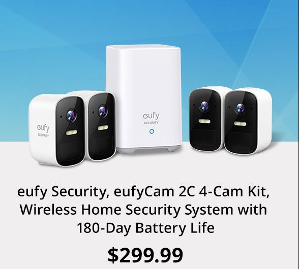 eufy Security, eufyCam 2C 4-Cam Kit, Wireless Home Security System with 180-Day Battery Life