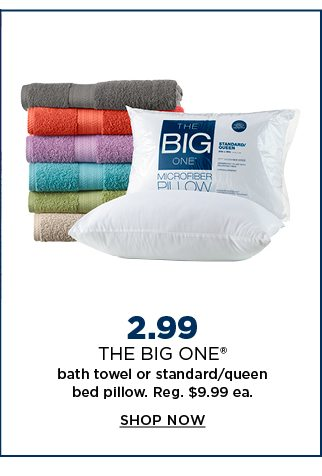 $2.99 the big one bath towel or standard/queen pillow. regularly $9.99 each. shop now.