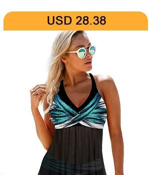 Halter Neck Asymmetric Hem Printed Swimdress and Panty