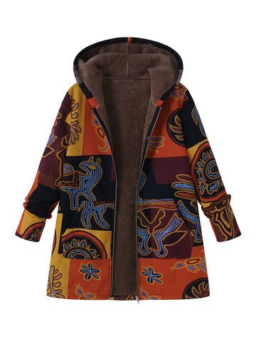Printed Hooded Pockets Jackets